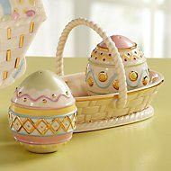 Lenox porcelain S &  P eggs in basket for Easter table. They look better than the pix. I love them and will use them this year!