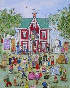 Out with the old, in with the new! it's 'Garage Sale' time! Painting by Marit Bjornegran, size: 40cmX33cm.Acrylic on canvas