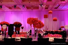 Room shot from Keela and Marion's Las Vegas hot pink and black wedding. Destination wedding planning and design by Tiffany Cook Events Wedding Reception Design, Wedding Designs, Wedding Ideas, Wedding Receptions, Reception Ideas, Fuschia Wedding, Floral Wedding, Wedding Flowers, Wedding Dresses