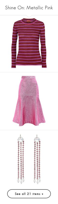 """""""Shine On: Metallic Pink"""" by polyvore-editorial ❤ liked on Polyvore featuring metallicpink, tops, purple cami top, layering cami, ribbed cami, purple top, ribbed cami top, skirts, midi flounce skirt and purple skirt"""