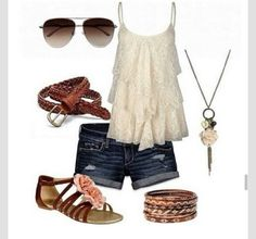 tank top outfits | tank top country style ruffle summer outfits cute edit tags