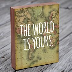 World Map Art  The World is Yours  Travel Quote  por LuciusArt