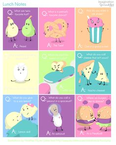 These or silly drawings or (heaven forbid, Knock-Knock jokes) are great treats in a school lunch! Especially in those early days when kids are trying to get to know each other! (Don't pack an extra food treat to share--the pressure is too great on whom to pick!) EVERYBODY enjoys a goog giggle!