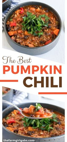 Pumpkin Chili Is A Delicious Twist On The Classic Chili Recipe. This Easy Chili Recipe Is Made With Pumpkin Puree, Ground Beef, Beans, And A Simple Homemade Blend Of Chili Seasonings. Pumpkin Chili, Best Pumpkin, Pumpkin Puree, Low Carb Diets, Chili Recipes, Soup Recipes, Pumpkin Recipes, Fall Recipes, Muffin Recipes