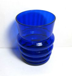 Small Art Deco Cobalt Blue Glass Paneled and Ringed Vase
