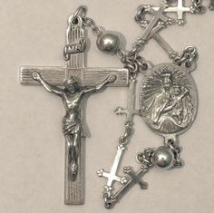 Sterling Silver 1956 Creed Trefoil Bottony Cross Rosary Beads 35 inches Free US Shipping        http://www.rubylane.com/item/494613-aj443-bg3513/Sterling-Silver-1956-Creed-Trefoil