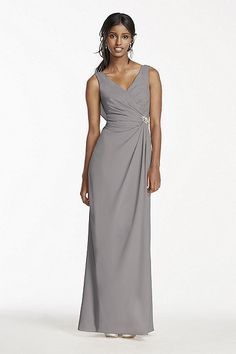 Alluring yet classic, this crepe cowl back dress is one your bridesmaids will want to wear again! Tank V-neck bodice features ruching at the back and the side, accented with a crystal brooch for Bridesmaid Dresses Long Champagne, Bridesmaid Dresses Under 50, Discount Bridesmaid Dresses, Sequin Prom Dresses, Bridesmaids, Chiffon Dresses, Informal Wedding Dresses, Cowl, Slit Skirt