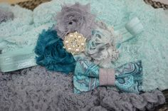 Teal Aqua and Gray... Photography Prop Twin by ThatUniqueBowtique, $23.49