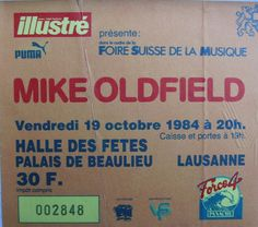 Lausanne 1984/10/19 Lausanne, Mike Oldfield, October 19, Frames, Music