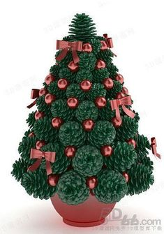 Best 9 Easy and inexpensive Pinecone Craft – Perfect Table Centerpiece for Christmas. Includes a DIY tutorial on making a cone base from scratch. Pine Cone Christmas Tree, Ceramic Christmas Trees, Rustic Christmas, Christmas Wreaths, Christmas Decorations, Christmas Ornaments, Pine Cone Art, Pine Cone Crafts, Christmas Projects