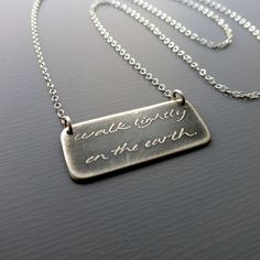 Walk Lightly On The Earth  Sterling Silver Necklace by lisahopkins, $56.00