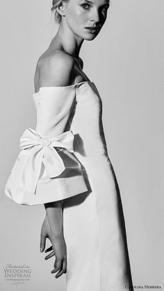 carolina herrera spring 2018 bridal off the shoulder lantern flounce sleeves straight across neckline simple clean classic elegant fit and flare wedding dress (04) mv -- Carolina Herrera Bridal Spring 2018 Wedding Dresses