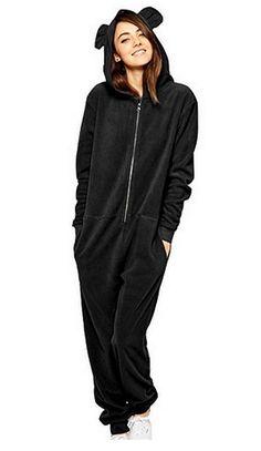 Womens Bear Hooded Onesie - Black Bear Onesie - Snug Fleece Onesies 7b689ae7b