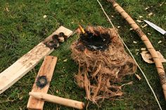 Making and using a bow drill for fire starting