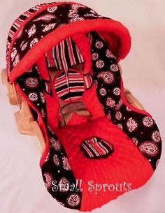 Custom Boutique Black and Red Paisley Graco by smallsproutsbaby, $109.00