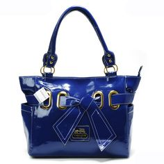 Coach Poppy Bowknot Smooth Medium Blue Totes AQR Give You The Best feeling!