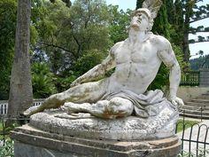 Statue of Achilles, Greek mythology hero of the Trojan war. Achillion Palace in Corfu, Greece