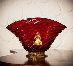 Seguso Vetri d'Arte (attr.) red / gold glass bowl
