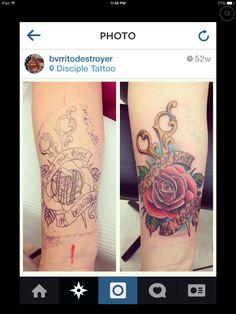 Rose, Scissor tattoo