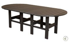 The Aniva Outdoor Dining Table is both stylish and durable with a trestle base, stretcher, and plank top constructed of recycled plastic poly lumber.