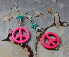 Pink peace sign earrings boho jewelry hippie dangle by FaiThGifTz, $15.00