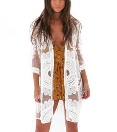 Women Summer Long Sleeves Bikini Cover Up Crochet Floral Lace Drawstring High Waist Maxi Cardigan Button Down Beach Dress Home
