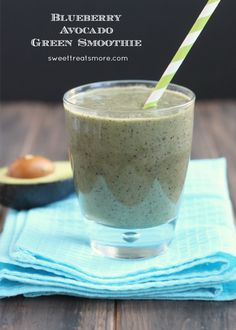 Blueberry Avocado Green Smoothie from sweettreatsmore.com