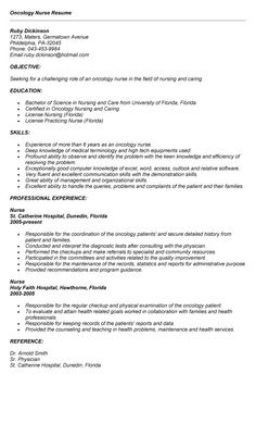 oncology nurse resume sample httptopresumeinfooncology nurse