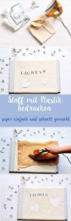 Hier ist eine einfache Anleitung, wie ihr Plastikapplikationen auf Stoff übertragen könnt. Mehr