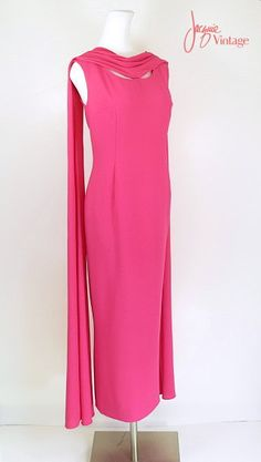 692af2936613d 70s evening gown   70s evening dress   70s rose pink formal evening dress    vintage 70s sleeveless long shift dress with tails   Jean Pierce