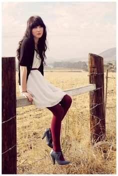 cream dress + burgundy tights