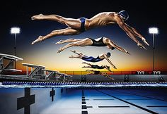Photog--- super awesome sports photography shot would be cool for a swimming dominant with them all in the air