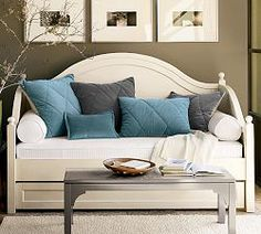Daybeds, Day Beds, Daybed Sets & Wood Daybeds | Pottery Barn I wish this was in a mahogany or cherry stain!