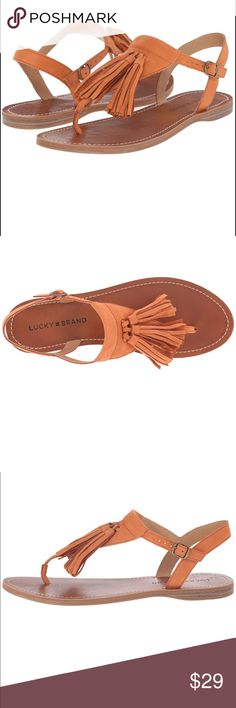 ❣️40% off Bundle❣️Lucky Brand brown Flat Sandal Frayed light-wash cutoffs and a cute halter will pair perfectly with these Anneke fringe sandals! SKU: 8943846 Leather upper. Adjustable buckle closure. Thong-style construction. Fringe embellished T-strap. Man-made lining and footbed. Low-heel. Man-made sole. Lucky Brand Shoes Flats & Loafers