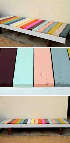 Lits en palette : Banc multicolore Banc multicolore Sharing is caring, don't forget to share ! Pallet Furniture, Painted Furniture, Furniture Ideas, Pallet Bench, Building Furniture, Diy Table, Wood Pallets, Home Deco, Wood Projects