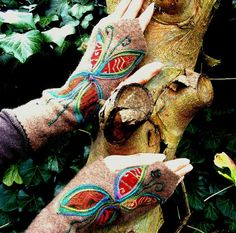 Armwarmers Gloves Recycled Upcycled Faerie Pixie Autumn Butterfly