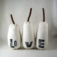 The Love Pears. white plush home and wedding decor