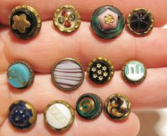 lot #2 12 Small Antique & Vintage Glass Slag Glitter Painted Charmstring Buttons