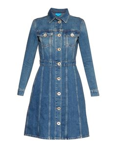 Loaded with cool 1970s vibes, the blue denim dress is a key piece for Resort-2016. M.i.h Jeans's DJ style is one of the best – it's cut with a point collar and a flared knee-length skirt, and fastens with vintage-style silver metal buttons that run along the front. Use the back strap to draw in the waist, and add height with chunky wooden wedges.