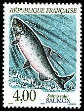 Saumon - Salmo salar Nature de France - Poissons d´eau douce - Timbre de 1990