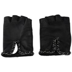 Chanel Black Leather Chain Fingerless Gloves ($985) ❤ liked on Polyvore featuring accessories, gloves, chanel gloves, fingerless gloves, chain gloves, real leather gloves and fingerless leather gloves