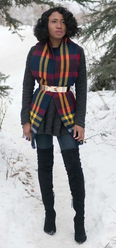 Styling a lovely scarf, draped front cardigan and over the knee boots. Fall fashion   Fashion blogger   Fall style   Winter outfit   Thigh high boots   Alaska   Fall looks   Fall hair