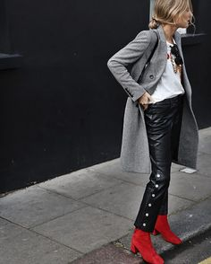 red ankle boots autumn outfits street style trend style outfit 2017 accessories denim6