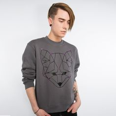 Fox Mens Sweatshirt #mensstyle #fashion #fox #illustration #giftsforhim #winter