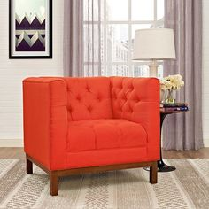 - Panache Fabric Armchair in Atomic Red