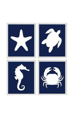 Beach Art Print Set - Nautical Nursery Bathroom Navy Blue White - Sea Creature Seahorse Starfish - Beach House Wall Art Home Decor -  4 8x10...