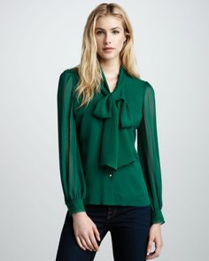 670b2fcf3 Tory Burch Solid Bryce Bow Blouse in Green (malachite)--maybe something  similar (i. not expensive as heck)
