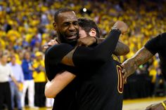 LeBron gets emotional as the Cavs win!!!  6/19/2016