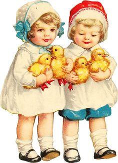 tubes paques - Page 6 Vintage Valentines, Vintage Holiday, Vintage Greeting Cards, Vintage Postcards, Vintage Baby Pictures, Vintage Images, Easter Illustration, Easter Wallpaper, Easter Crafts