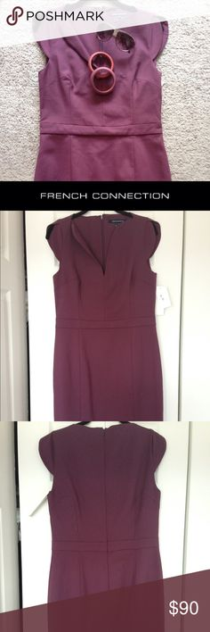 """French Connection Cap Sleeve Dress Cap sleeve, empire waist dress in wine color. 31"""" waist and skirt from bottom of waist band is 22"""" to the bottom. Impeccable darting and slight stretch to fabric. Perfect for Fall. Use as a work option, after 5 event or evening wedding dress option. French Connection Dresses Midi"""